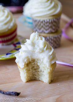 Very Vanilla Cupcakes by sallysbakingaddiction.com