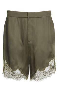 Feminine green shorts with lace detail | #HMStudioAW14