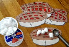 "I love this counting activity!!! Scooping ""Cool Whip"" onto pie -- add small motor with tongs"
