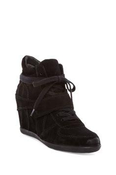 Ash Bowie Calf Suede Sneaker Wedge in Black