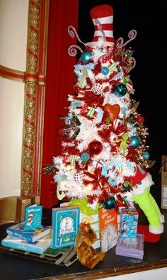 Merry seussmas 6 5 tall with topper includes 100 of dr seuss books