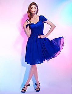 A-line Straps Chiffon Over Stretch Satin Cocktail Dress – USD $ 129.99