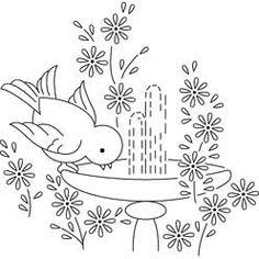 Pattern Detail | Bluebird and Fountain | Needlecrafter
