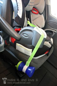 My kids are too old for this, but this is a great idea for people with little kids.  Pinner says:  Must do before road trip. I hate reaching back to find kid's cups. Especially while driving!