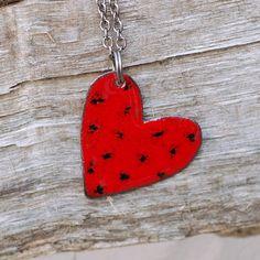 Enamel Heart Pendant Necklace Copper Enameled Jewelry by Venbead