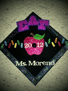 #graduation #cap #teacher  omg so cute for when I graduate!!! Letters and my major!
