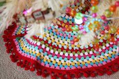 crochet Christmas tree skirt with ball fringe