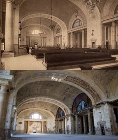 interior of the Detroit train station. Now and then.
