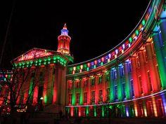 Civic Center Christmas Lights Denver Colorado, USA