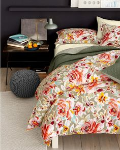 Update your bedroom with our new hemsticthed bedding in an oversized floral print in fall hues.