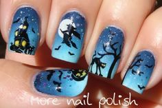 Index - Bundle Monster BM305 Middle - Messy Mansion MM22 for moon and witch, bats from BM305 Ring - Tree from Winstonia W102, cat from W1... Nail Polish, Nail Arts, Nail Nailart, Halloween Nail Art, Halloween Nails