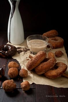 Doughnuts, Chai Tea and Chocolate Sauce by Delicious Shots, via Flickr