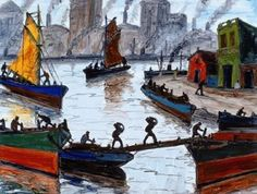 Benito Quinquela Martín. 1890. es considerado el pintor de puertos y es uno de los pintores más populares del país. Sus pinturas portuarias muestran la actividad, vigor y rudeza de la vida diaria en la portuaria La Boca. Le tocó trabajar de niño cargando bolsas de carbón y dichas experiencias influenciaron la visión artística de sus obras.