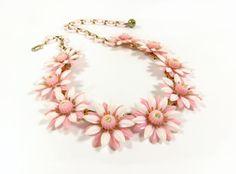 Vintage Coro Daisy Rhinestone Necklace