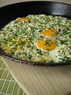 beyaz peynirli yumurta, turkish feta & parsley eggs. From 'Morsels and Musings'.