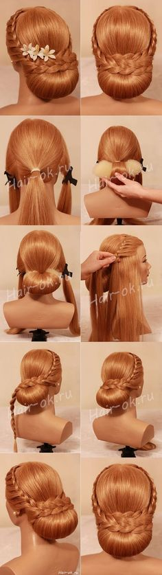 Evening feminine sophisticated updo, hairstyle. - This is for long hair.
