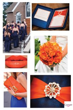 tangerine and navy inspiration board///invitations available at Couture ink!