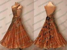 NEW READY TO WEAR CAPPUCCINO ORGANZA BALLROOM DANCE DRESS SIZE:6