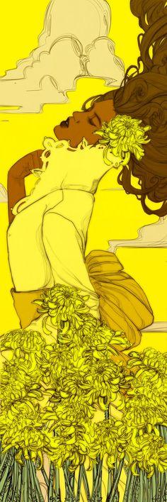 Yellow Chrysanthemums Bookmark Revised by Newsha-Ghasemi.deviantart.com on @deviantART