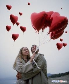 <3 red shiny heart balloons - be my Valentine