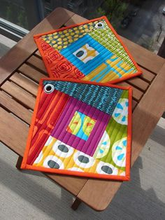potholders from blocks - tallgrass prairie studio