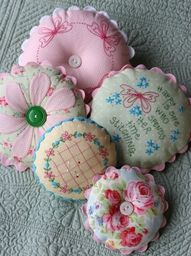 Adorable pastel pin cushions.