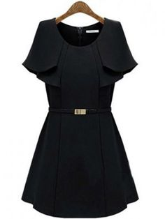 Black Cape-Sleeved A-line Dress