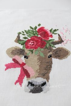 embroidery : cute cow