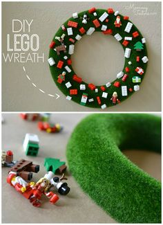 Easy DIY Lego Wreath - a super kid-friendly wreath that's surprisingly inexpensive to make! #DIY #christmas #craft #kids