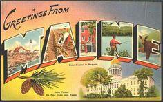 Maine 1940s Vintage Postcard