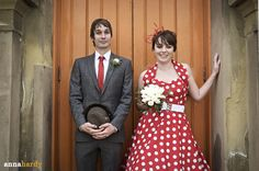 Red and White Polka-Dot Bridal Gown/ Dress and Tuxedo with Red Tie for Groom