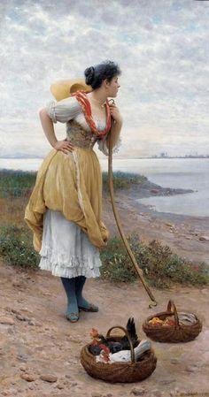 Eugene de Blaas (1843-1931)  Daydreaming  Oil on canvas