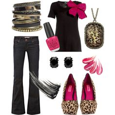 Leopard & Pink Fun, by mkk0129 on Polyvore.  But with leopard flats