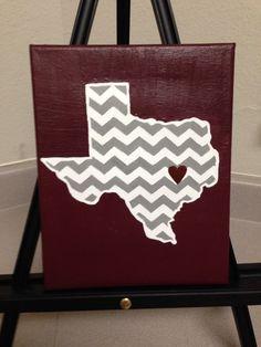 Maroon chevron Texas canvas! So cute!