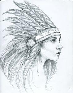 Amandalynn: Feather Ladies Indian feather head dress woman lady Tattoo Flash Art ~A.R.