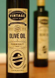 california vintage olive oil label