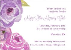 Purple Watercolor Invitation for a spring purple-themed party. Mary Lillie Memory Club Luncheon – A Pretty Purple Celebration