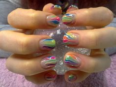 gel manicure | Gel nails neon summer colours
