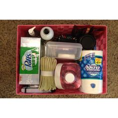 My homemade Emergency Kit for my car - toilet paper, 1 gallon water, tissues, First- Aid kit ($5 from Big Lots!), wash cloths, hand sanitizer, spotlight w/ extra batteries, fix-a-flat, bungee cords, baby wipes, notebook & pens, beef jerky, crow bar, Swiss army knife pliers, knife, trash bags, glow stick