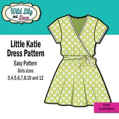 fairytale frocks and lollipops :: wild lily and lace, wild lilly, lillie, ori quintana, little katie wrap dress, katie ann, girl, baby, toddler, tween, children's sewing pattern, easy, beginner, knit, woven, sleeveless, a-line, aline, a line, elastic waist, short sleeve, summer, spring, fall, boutique, sewing, instant, digital, download, pdf, e-pattern, e-book, epattern, ebook, tutorial, digipattern