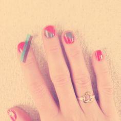 red x grey diagonal nails