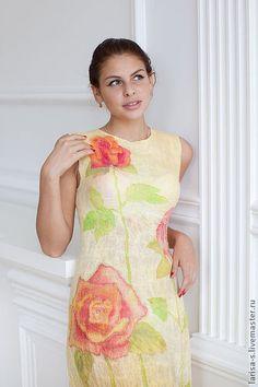 валяное платье `Розалинда`. летнее валяное платье, выполненное в технике нуновойлока.