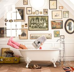 i love everything about this. boot, frame, galleri, dream, bathtub, clawfoot tubs, gallery walls, bathrooms, bath time