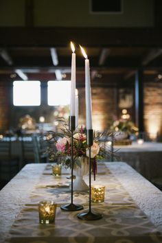 taper candle centerpieces | B. Mo Foto #wedding