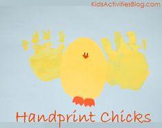 handprint easter, kid activities, handprint chick, hand prints, hand print crafts