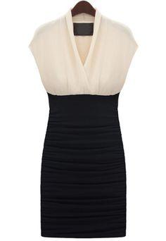 White Black Sleeveless Pleated Bodycon Dress - Sheinside.com