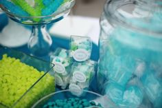 little boxes, color palettes, candy buffet, blue, wedding ideas, green, candi, teal, lime