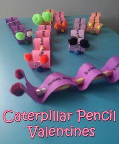 Caterpillar Pencil Valentine Cards : Macaroni Kid