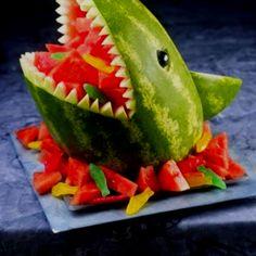 For shark party-- shark watermelon fruit tray