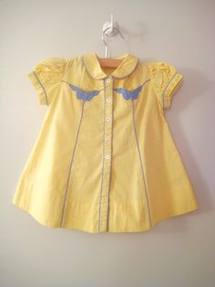 1930's Yellow and Blue Button Down Party Dress